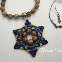 Mandala macrame Pendant, Beaded Necklace, tribal, Boho, Yoga