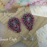Beautiful Dangle Macrame earrings, Bohemian, Holiday earrings, beach, summer