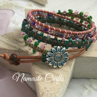 Beaded Boho Leather Wrap Bracelet, gift for teenager, summer accessories