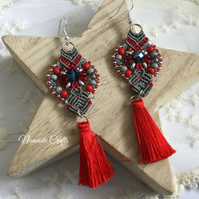 Funky red and grey tassel Micro macrame earrings, boho earrings,