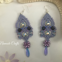 Delicate lacy dangle boho macrame beaded earrings