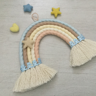 Sherbet Crush Macrame Rainbow Wall Hanging, baby shower gift, nursery decor