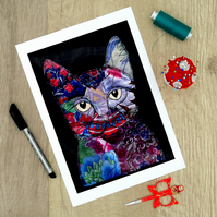 "A4 Epson Print of ""Flora the Floral patchwork Cat textile Art Fabric Picture"""