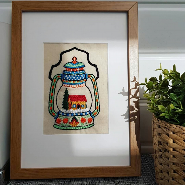 Hand Embroidered Winter Lantern Framed