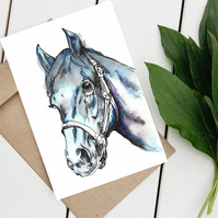 Horse card, Art blank Watercolour print greetings card designed by Qurat ulain.