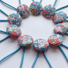 Button Hair Ties - Arley Garden Liberty Fabric
