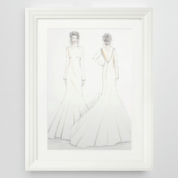 Personalised from your photos, hand drawn wedding dress illustration