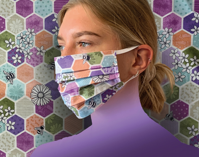 Bees Honeycomb Purple Face Mask 100% Cotton, Washable & Re-usable Child Adult