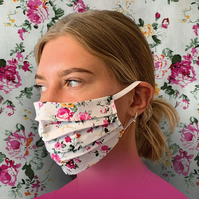Vintage Floral Face Mask 100% Cotton, Washable & Re-usable, Adult & Child