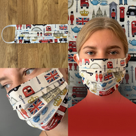 London Icons Face Mask 100% Cotton, Washable & Re-usable, Adult & Child