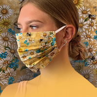 Bees Honeycomb Face Mask 100% Cotton, Washable & Re-usable, Adult & Child