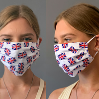 Union Jacks Face Mask 100% Cotton, Washable & Re-usable, Adult & Child
