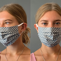 Geometric Grey Face Mask Covering, Washable & Re-usable, Adult & Child