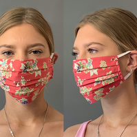 Red Floral Vintage Face Mask Covering, Washable & Re-usable, Adult & Child