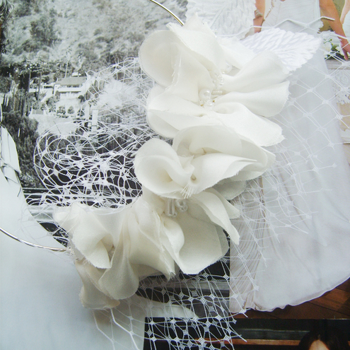 Wedding 'Ruffle' Head Band  Pure Silk Beaded Head Piece