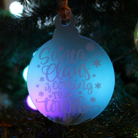 Engraved Santa christmas ornament