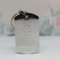 Engraved  10 year wedding anniversary Keyring