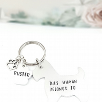 Scottish Terrier Keyring, Hand Stamped 'This Human Belongs To' Keyring