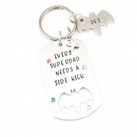 Keyring for Dad, Hand Stamped Every superdad needs a sidekick  keyring