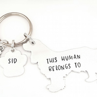 Cocker Spaniel Keyring, Hand Stamped 'This Human Belongs To'