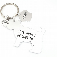 Yorkshire Terrier Keyring, Hand Stamped 'This Human Belongs To'