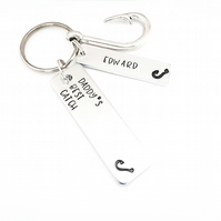 Fishing Keyring, Hand Stamped Daddy's Best Catch keyring