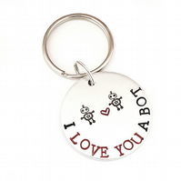 Hand Stamped I Love You Keyring,  I Love You A Bot Robot Keyring