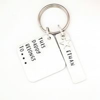 Grandad Keyring, Hand Stamped This Grandad Belongs To keyring