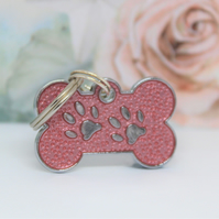 Engraved pet ID charm,Bone Shaped ID tag, Pink Dog ID, Dog ID