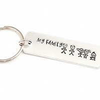 Stick figure family keyring, hand stamped keyring, my family keyring