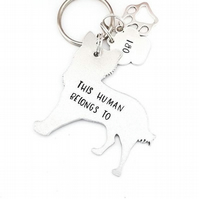 Chihuahua Keyring, Hand Stamped 'This Human Belongs To' Keyring