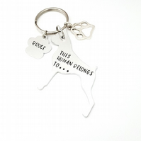 Boxer Keyring, Hand Stamped 'This Human Belongs To' Keyring