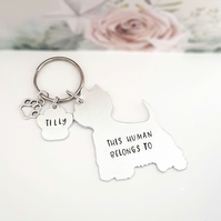 West Highland Terrier Keyring, Hand Stamped 'This Human Belongs To' Keyring