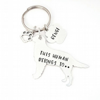 Golden Retriever Keyring, Hand Stamped 'This Human Belongs To' Keyring