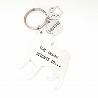 Pug Keyring, Hand Stamped 'This Human Belongs To' Keyring