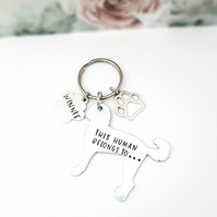 Labradoodle Keyring, Hand Stamped 'This Human Belongs To' Keyring
