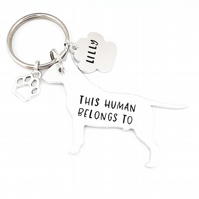 Bull Terrier Keyring, Hand Stamped 'This Human Belongs To' Keyring