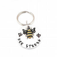 Hand Stamped bee keyring, be strong keyring, bee bag charm, gift for anxiety