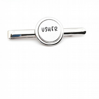 Hand Stamped Usher Tie Pin, Wedding Tie Pin.