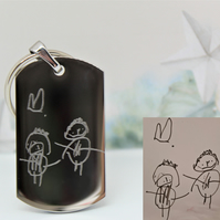 Engraved Children's drawing Keyring