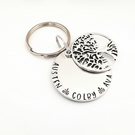 Hand Stamped Family Tree keyring, Nanna Gift, Personalised keyring, Family Tree
