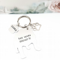 Bulldog Keyring, Hand Stamped 'This Human Belongs To' Keyring