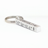 Hand Stamped 3D Bar, Bar Keyring, Hand Stamped Co-ordinate Keyring, GPS Gfit