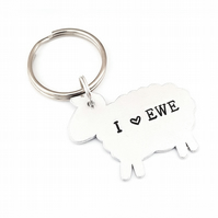 Hand Stamped I love ewe, hand stamped keyring, gift for farmers, novelty keyring