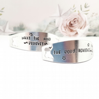 The body achieves what the mind believes, hand stamped trainer tags, trainer tag