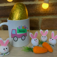 Easter Mug - truck and eggs with name