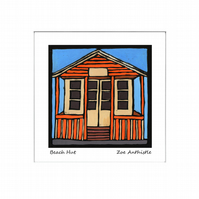 Digital print of my original handprinted linocut 'Beach Hut'.
