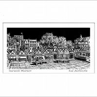 Digital print of my original handprinted linocut 'Norwich Market'.