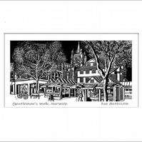 digital print of my original handprinted linocut 'Gentleman's Walk, Norwich'.