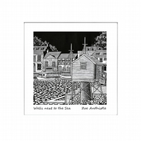 Digital print of my original handprinted linocut 'Wells next to the Sea'.